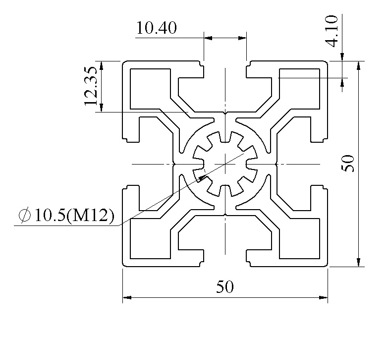 Nhôm định hình 50x50 ATV10-5050-01