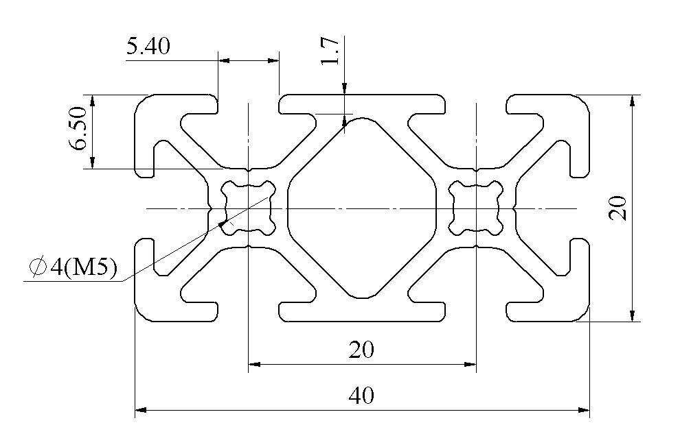 Bản vẽ khung nhôm định hình 20x40 - 02