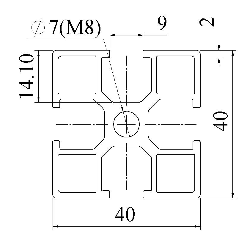 Nhôm định hình 40X40 ATV8-4040-07