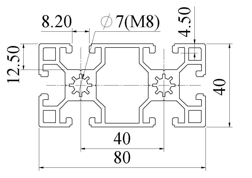 bản vẽ Nhôm định hình 40X80