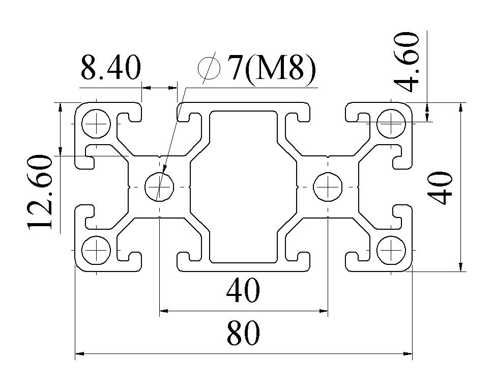 Nhôm định hình 40X80 ATV8-4080-03