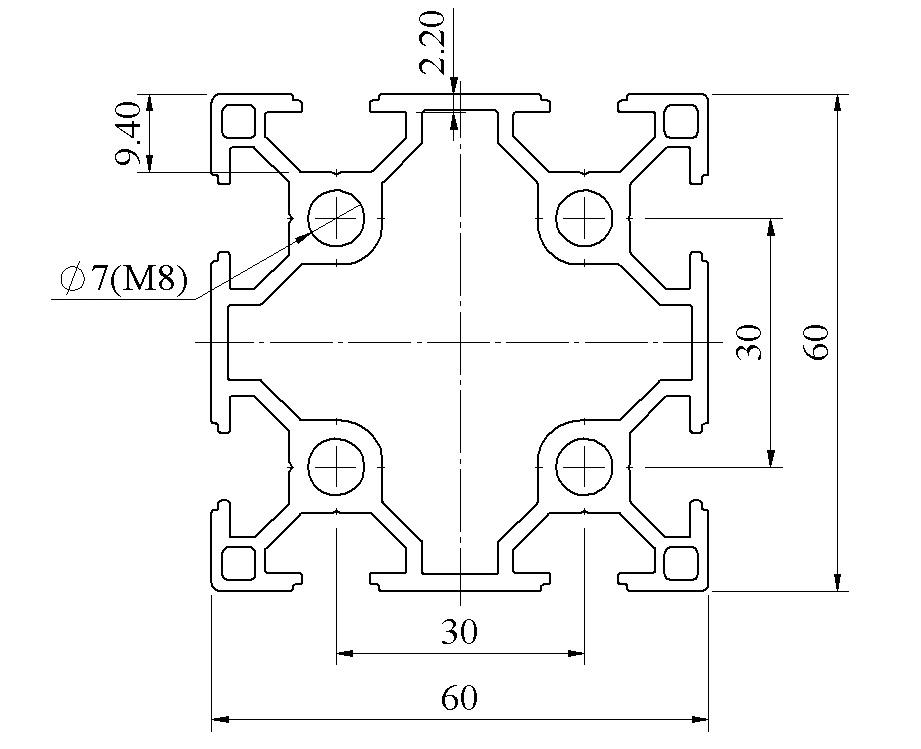 Bản vẽ Nhôm định hình 60x60 ATV8-6060-01
