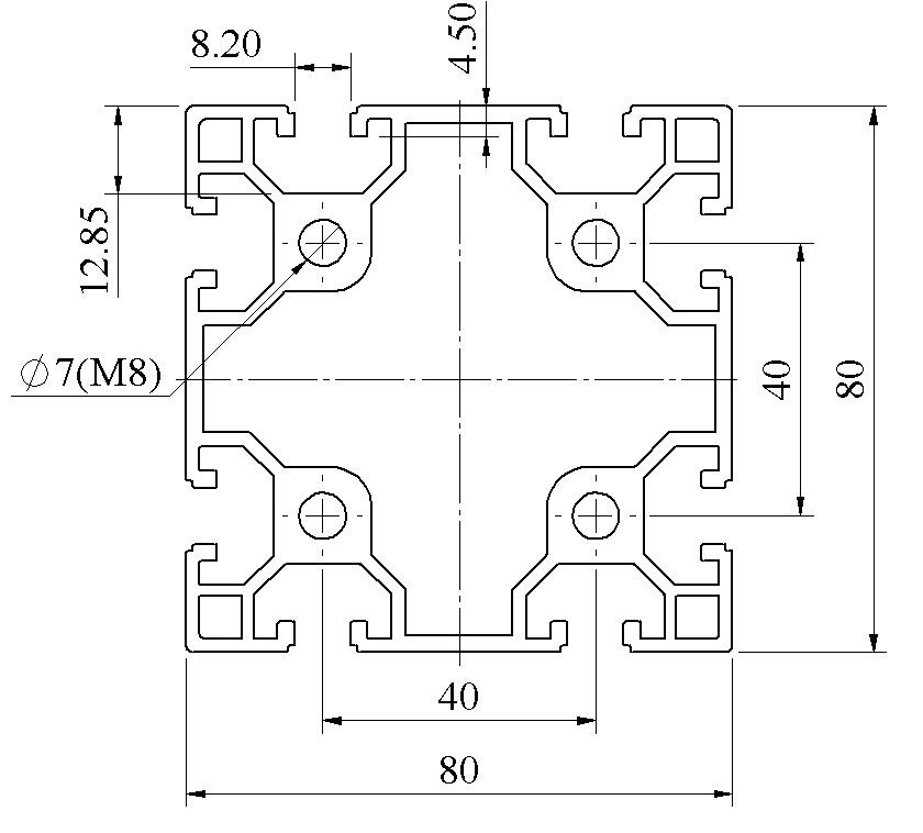 Nhôm định hình 80x80 ATV8-8080-01