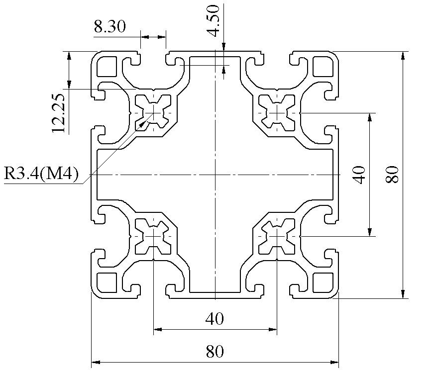 Nhôm định hình 80x80 ATV8-8080-03
