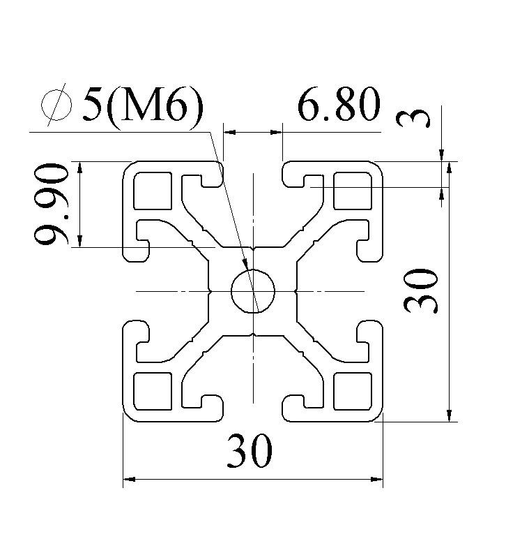 bản vẽ nhôm định hình 30x30 ATV6-3030-01