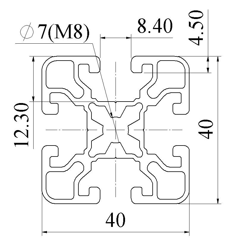 Nhôm định hình 40X40 ATV8-4040-08