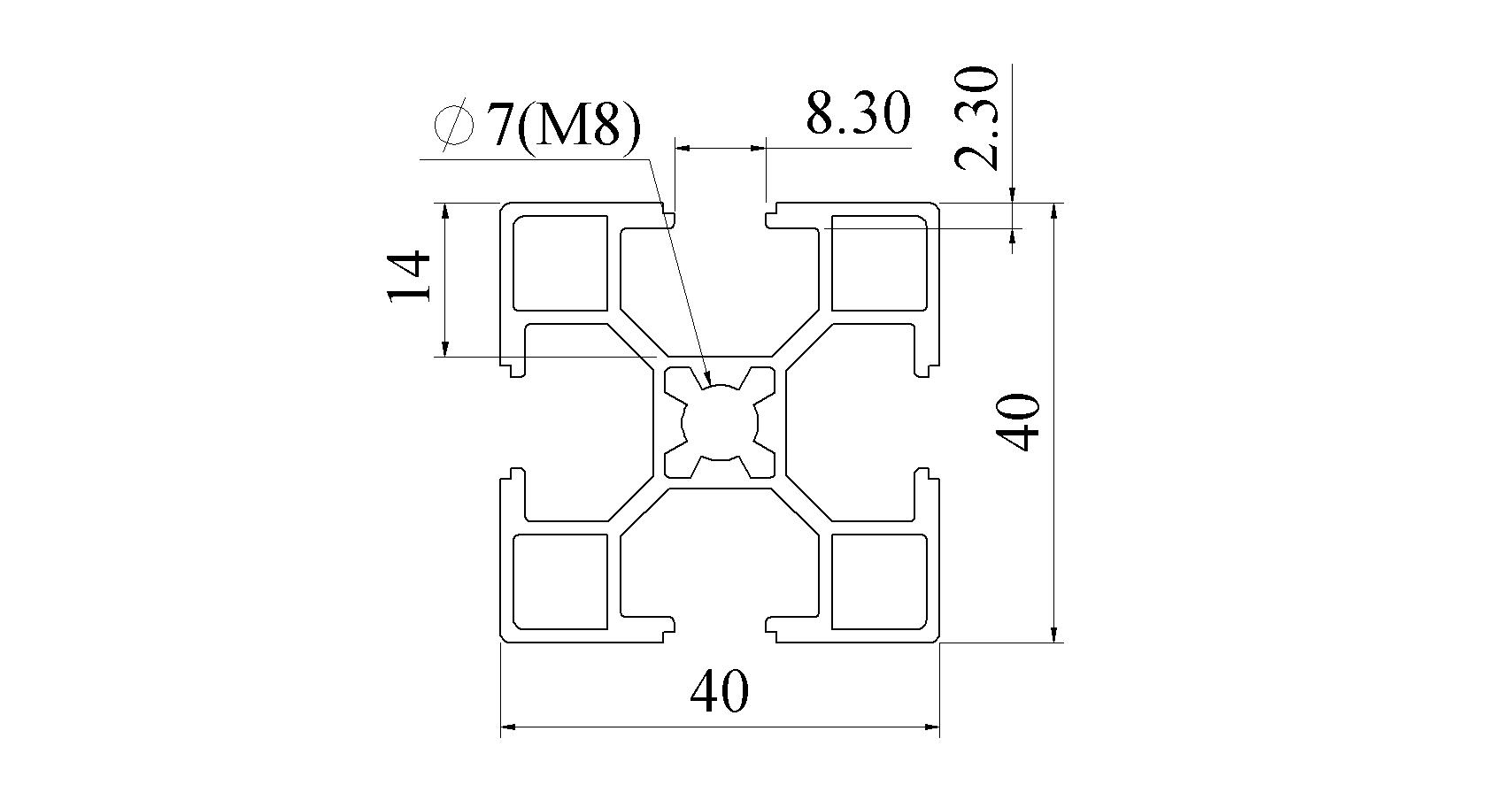 Bản vẽ Nhôm định hình 40x40